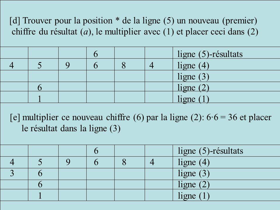 [d] Trouver pour la position * de la ligne (5) un nouveau (premier)